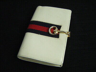 $39.98 • Buy GUCCI Vtg 60-70s Ivory Leather Red/Navy Signature Bi-Fold Wallet, Free Ship!