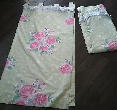 Pale Green Spot/floral Lined Curtains Tab Top Frill At Top 52  Long X 53   Wide  • 8.90£