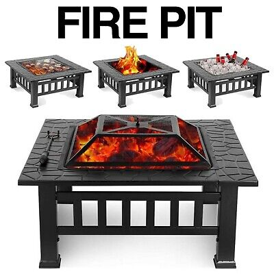 Square Fire Pit Bbq Grill Outdoor Garden Square Table Stove Patio Heater 81cm • 99.99£
