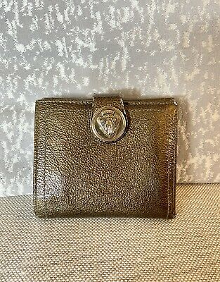 $70 • Buy VTG GUCCI Crest Patent Leather Bronze Crackle Gold Hysteria French Flap Wallet