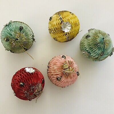 $ CDN40.59 • Buy Vintage Honeycomb Paper Christmas Ornaments Balls Lot Of 5 Beads Foil Japan