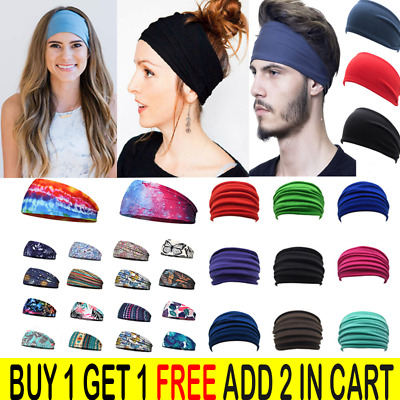 $1.54 • Buy Women Yoga Sport Wide Headband Elastic Boho Hair Band Head Wrap Wristband Turban