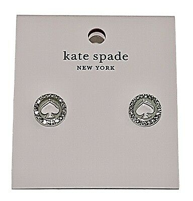 $ CDN38.30 • Buy NEW Kate Spade Spot The Spade Pave Halo Spade Studs Earrings Silver