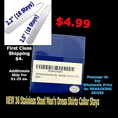 $4.99 • Buy Sealed 36pc Stainless Steel Collar Stays In Plastic Box For Mens Dress Shirt