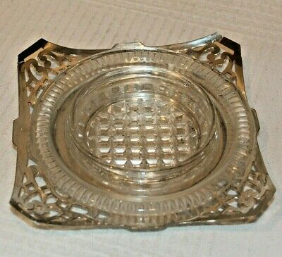 Attractive Silver Plated & Glass Butter Dish C1950s • 9£