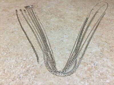 "$ CDN65.32 • Buy Sterling Silver Jewelry Chain/Bracelet Lot, 8 All Are Italy, 16""-24"" Scrap/Wear"