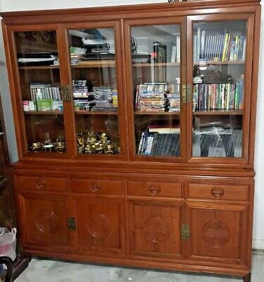 AU4000 • Buy Solid Rosewood(红酸枝) Oriental Style 4 Door Bookcase/Display Cabinet /Buffet Hutch