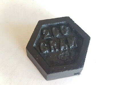 Single Vintage Metric Cast Iron Hexagonal Weights 200 Gram For Balanced Scales • 4.99£