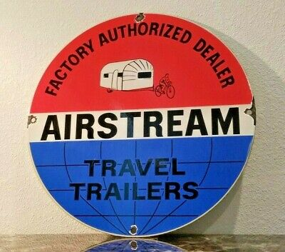 $ CDN152.25 • Buy Vintage Airstream Porcelain Travel Trailers Gas Authorized Dealer Service Sign