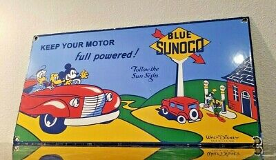 $ CDN138.72 • Buy Vintage Sunoco Porcelain Gasoline Oil Disney Mickey Mouse Service Station Sign