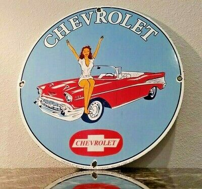 $ CDN179.32 • Buy Vintage Chevrolet Porcelain Gas Chevy General Motors Pin Up Girl Service Sign