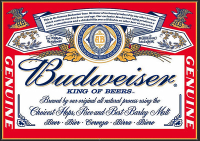 Budweiser Beer Metal Sign Man Cave Pub Bar Beverage Pub Plaque Party Gift • 7.99£