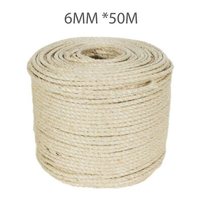 50M Natural Sisal Rope Cats Scratching Post Claw Control Toys Crafts Pet Animal • 10.99£