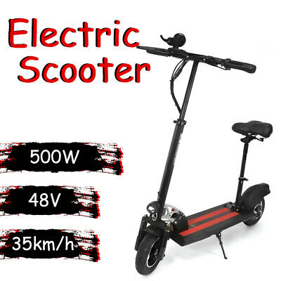AU800.96 • Buy 500W 48V Electric Scooter With Seat Portable Scooter Black 4H Charging