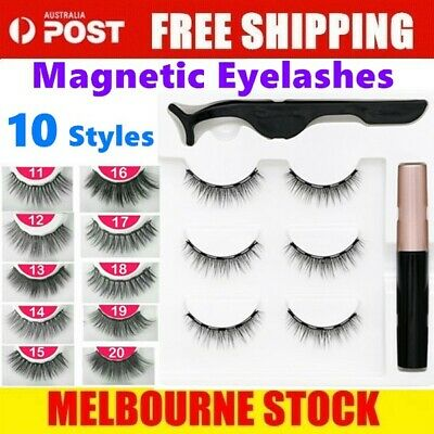 AU12.99 • Buy Magnetic False Eyelashes Natural Eye Lashes Extension Liquid Eyeliner Tweezer