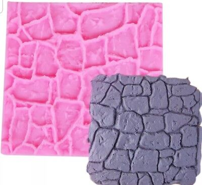 Cobble Stone Wall Silicone Mould-castle Mold-coble Texture-fondant Impression • 5.99£