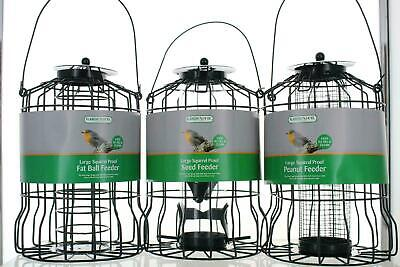 Large Green Squirrel Proof Bird Feeders Seed/ Fat Ball/Nut Feeding Stations • 6.95£