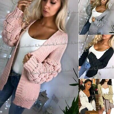 Ladies Womens Bubble Bobble Sleeve Knitted Cardigan Chunky Knit Jumper Jacket • 16.95£