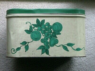 $24.95 • Buy Vintage Green Lidded Tin Bread Box With Green Fruit Decoration
