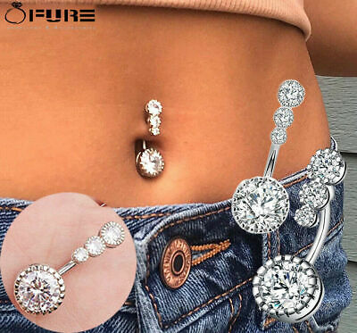 £3.99 • Buy Single Belly Piercing 4 Crystal CZs Belly Button Rings 1.610mm Body Jewelry