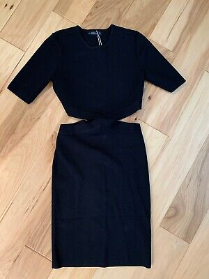 $61.99 • Buy ZARA KNIT CRISS CROSS CUTOUT DRESS! Black Dress Size Large New With Tags CUTE :)