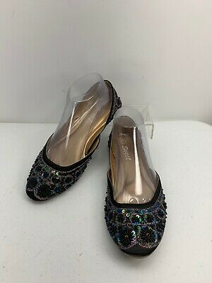 $15 • Buy Sweet Flats Black Beaded Embroidered Sequins Size 7 M