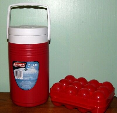 $4.99 • Buy Coleman 1/2 Gallon Water Jug 2001 Red 5590  & Egg Carrier Storage Case