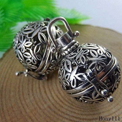 3x Antique Silver Copper Hollow Mexican Bola Bell Pregnant Pendants Charms 51019 • 3.49£