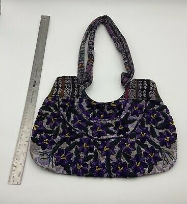 $19.99 • Buy Mexican Purple Flower Frida Kahlo Style Boho Hippie Shoulder Handbag Purse Bag