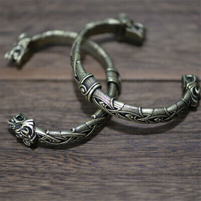 Norse Viking Animal Wolf Head Bracelet Gothic Bangle Unisex Amulet Jewellery • 6.11£