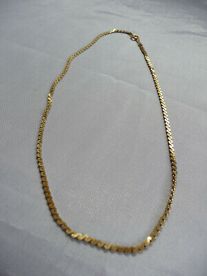 Gold Tone Fine Snake Style Flat Chain 70s / 80s Choker Collar Necklace • 7£