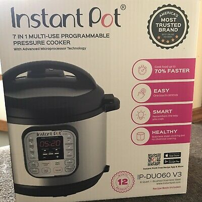 $60 • Buy Instant Pot Pick Up Only IP-DUO60 V3 Programmable 7 In 1 Healthy Pressure Cooker