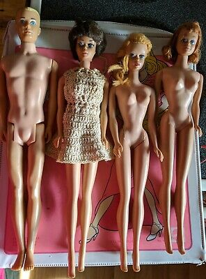 $ CDN73.32 • Buy Lot Of Vintage 1960's Barbie Dolls Ken, Bubble Cut Midge, Barbie With Case