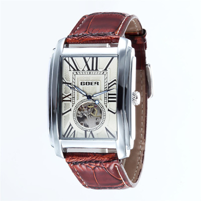 £25.09 • Buy Luxury Automatic Mechanical Men Wrist Watch Leather Band Skeleton Rectangle Dial