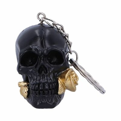 BLACK ROSE FROM THE DEAD Gothic Skull Keyring Key Ring Keychain Nemesis Now • 6.99£