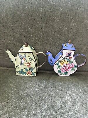 $16.99 • Buy 2 Enamel Metal Mini Tea Pots One Hummingbird Flowers Other Pot Two Tone Flowers