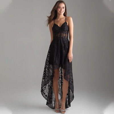 UK Womens Strappy V Neck Lace Evening Cocktail Party High Low Maxi Swing Dress • 11.01£