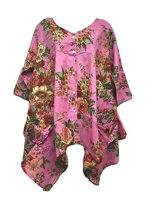 100% Cotton Pockets Lagenlook Floaty Tunic Top Size 16 18 20 22 • 9.99£