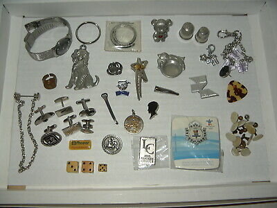 $ CDN25.99 • Buy 35+ Vintage Junk Drawer Lot - Watch-Cufflinks-Keyfobs-Dice-Pins-Odds & Ends