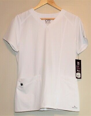 $19.99 • Buy NWT Barco One Wellness Women's Short Sleeve V-Neck Scrub Top - Small - White