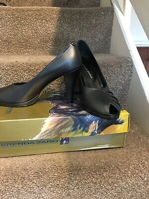 "Brenda Zaro Shoes Size 5 Pewter/dark Grey Leather Peep Toe 4"" Heels New • 1.30£"