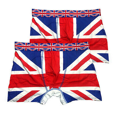 2 X British Flag Man Boxers Union Jack Trunk Underwear UJ Cotton London Souvenir • 6.99£