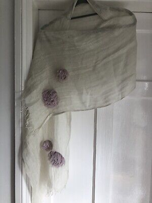 Very Soft Green And Lilac Linen  Summer Scarf With Floral Additions • 4.99£