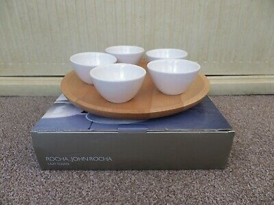 £27.50 • Buy Wooden Lazy Susan By John Rocha With 5 Ceramic Dip Dishes.