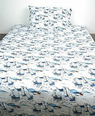 NEW Seasalt Repose Blue Nautical Duvet Set In Jumbo Boats Print 50% OFF RRP • 37.50£
