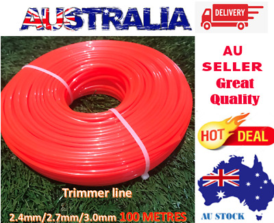AU19.49 • Buy COMMERCIAL USE TRIMMER LINE 2.4MM/2.7MM/3.0MM*100M  MOWING Whipper Snipper Cord