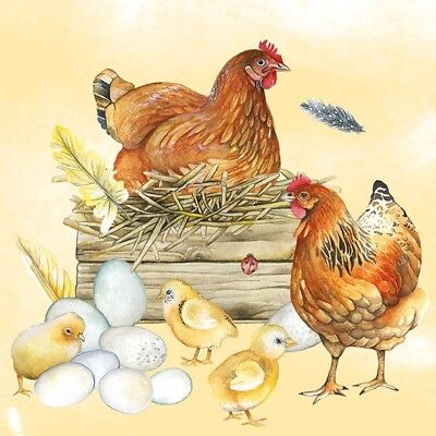 4 X Single Paper Table Napkin/Decoupage/Easter/Chickens/Chicks • 1.25£