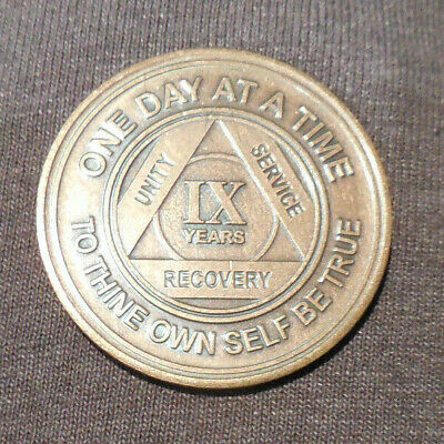 $3.20 • Buy Aa Bronze Alcoholics Anonymous 9 Year Sobriety Chip Coin Token Medallion