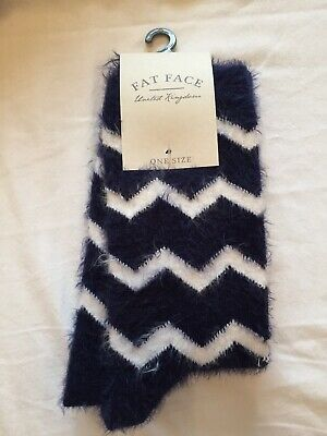 $7.58 • Buy Fatface Fluffy Boot Socks Navy Blue White Chevrons Size 4 5 6 7 M Ladies Womens