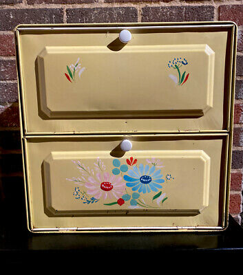$35 • Buy Vintage Kitchen Ransburg Co Tin Bread Box Pie Safe Double Stacked Hand Painted